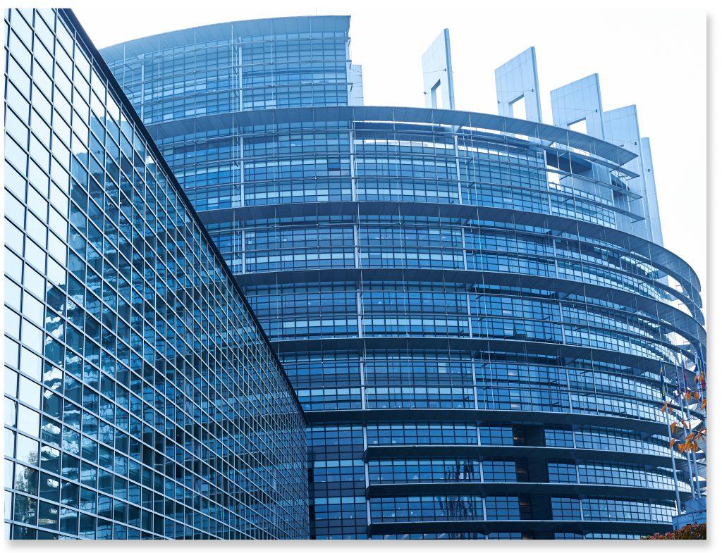 Strasbourg, France - October 30, 2015: Facade of the European Parliament building in Strasbourg, France