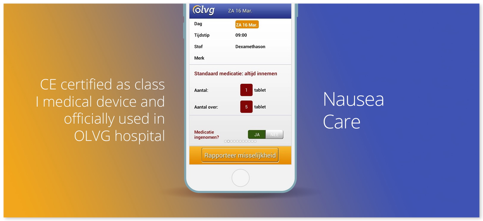 Nausea Care iOS app long