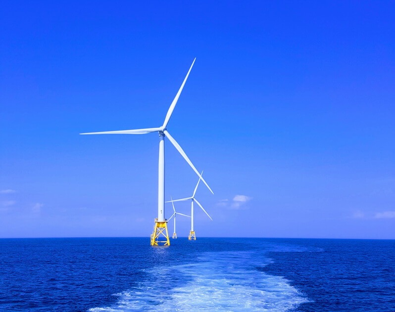 wind power turbine in the sea
